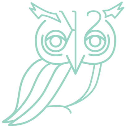 Kayla's logo: a mint owl with a backwards K and S that make up the face. Clicking on this redirects to the home page.
